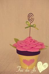Bomboniera Vasetto porta foto rosa e beige con cuore - realizzato a mano