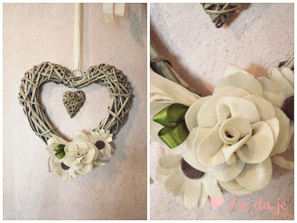 Cuore in vimini beige e verde da appendere per la casa - Decorazioni oggetti fai da te ...