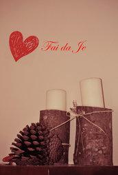 Porta candela in legno con rafia e lavanda