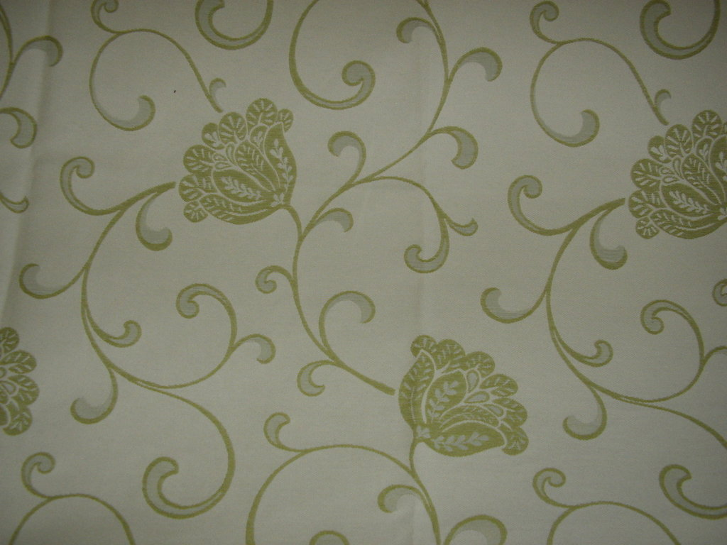 stoffa panna con fiori verde chiaro