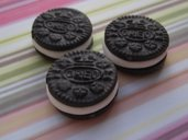 3 pendenti OREO in fimo  -  3x CUTE MINI OREO CHARMS beads in polymer clay / fimo / cernit