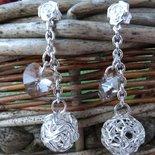 Orecchini cuori di cristallo,catena e sfera acciaio intrecciata san valentino