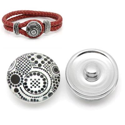 pulsante Bottone a clip a pois bianco/nero 18mm Dia. per Bracciale  adattabile