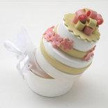 Bomboniera Wedding Cake per Matrimoni, in fimo con scatolina portaconfetti