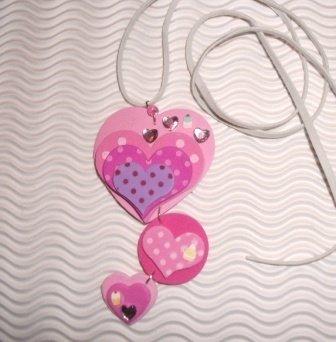 Collana con pendente in gomma crepla Cuori - Sweet Heart^^ - Idea Regalo San Valentino!