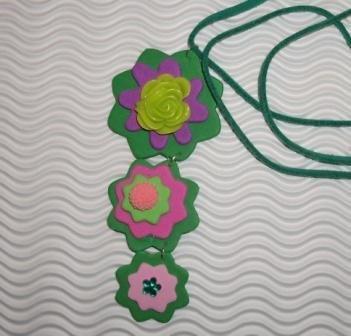 Collana con pendente in gomma crepla Fiori - Happy Garden^^