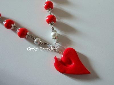 Collana cuore e perle in fimo