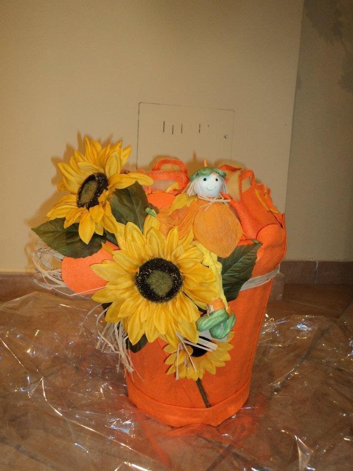"""cesto per sacchetti, bomboniere, ricordini """"arancio"""""""