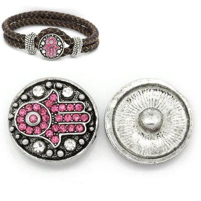 pulsante Bottone a clip mano con strass rosa mm  per Bracciale
