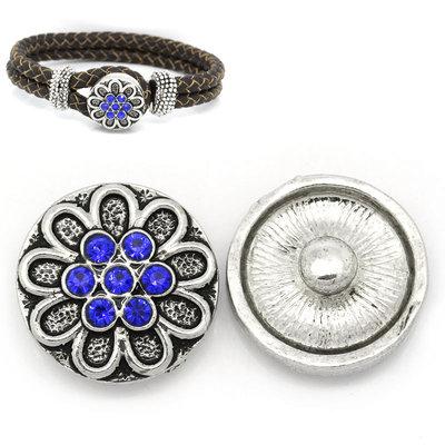 pulsante Bottone a clip fiore  strass blu 20 mm Dia. per Bracciale