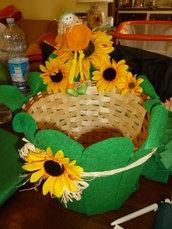 """cesto per sacchetti, bomboniere, ricordini """"verde/giallo"""""""
