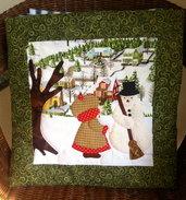 cuscino quillow bambina con pupazzo di neve - un cuscino con dentro un plaid