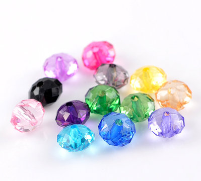 10 Mix Perle  cipollotti Sfaccettate in Acrilico 10x7mm