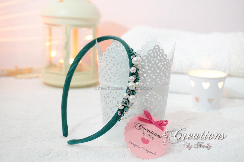 Cerchietto prezioso con perline e strass
