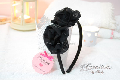 Cerchietto con rose in organza
