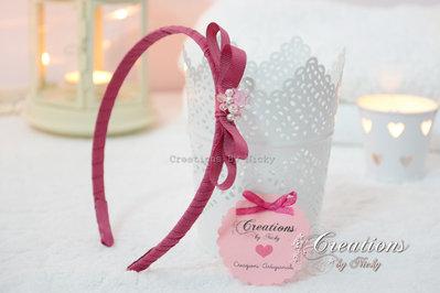 Cerchietto con fiocco e cristallini
