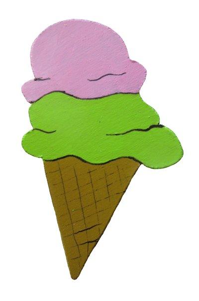 Calamita cono gelato in legno - fatta a mano