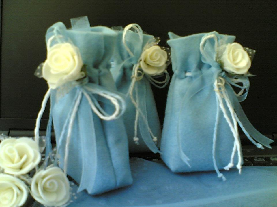 """sacchetti per confetti fai da te, segnaposto """"rosa celeste"""""""