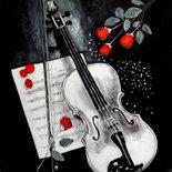 Quadro violino rose acrilico su tela dipinto a mano