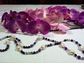 Collana di perle barocche e pietre semipreziose