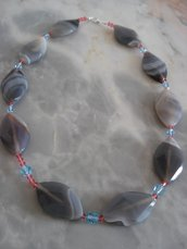 Collana in agata del Botwana e cristalli Swarovski