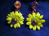 Copper earrings with small sunflower
