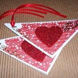 Bigliettini di Auguri per San Valentino - Tag triangolari - Chic'n'love