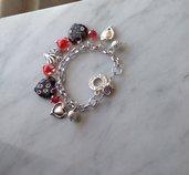 Bracciale cuore tema nero e rosso,catena,ciondoli tipo murrina,mezzo cristallo e metallo