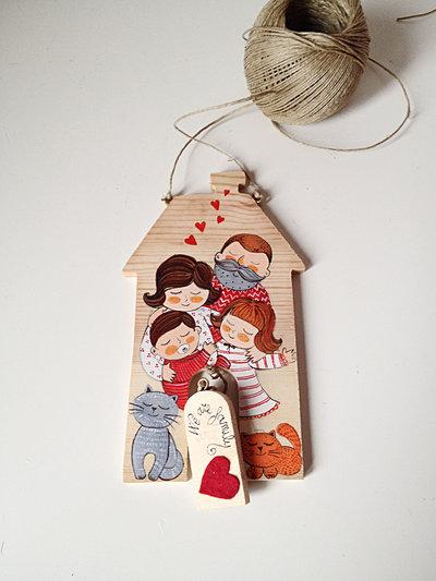 Casa dolce casa - targa di legno illustrata e sagomata