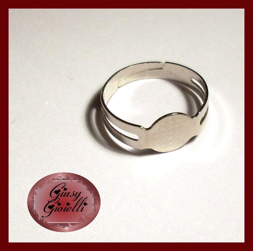 10x Base anello regolabile color argento scuro 16,7 mm.