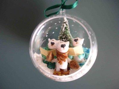 SINGING IN THE....snow!!! palla di neve in plexiglass con bull terrier fimo