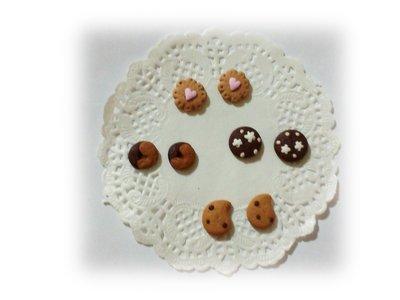 Decorazioni cabochon biscotti gocciole pan di stelle abbracci fimo scrapbooking