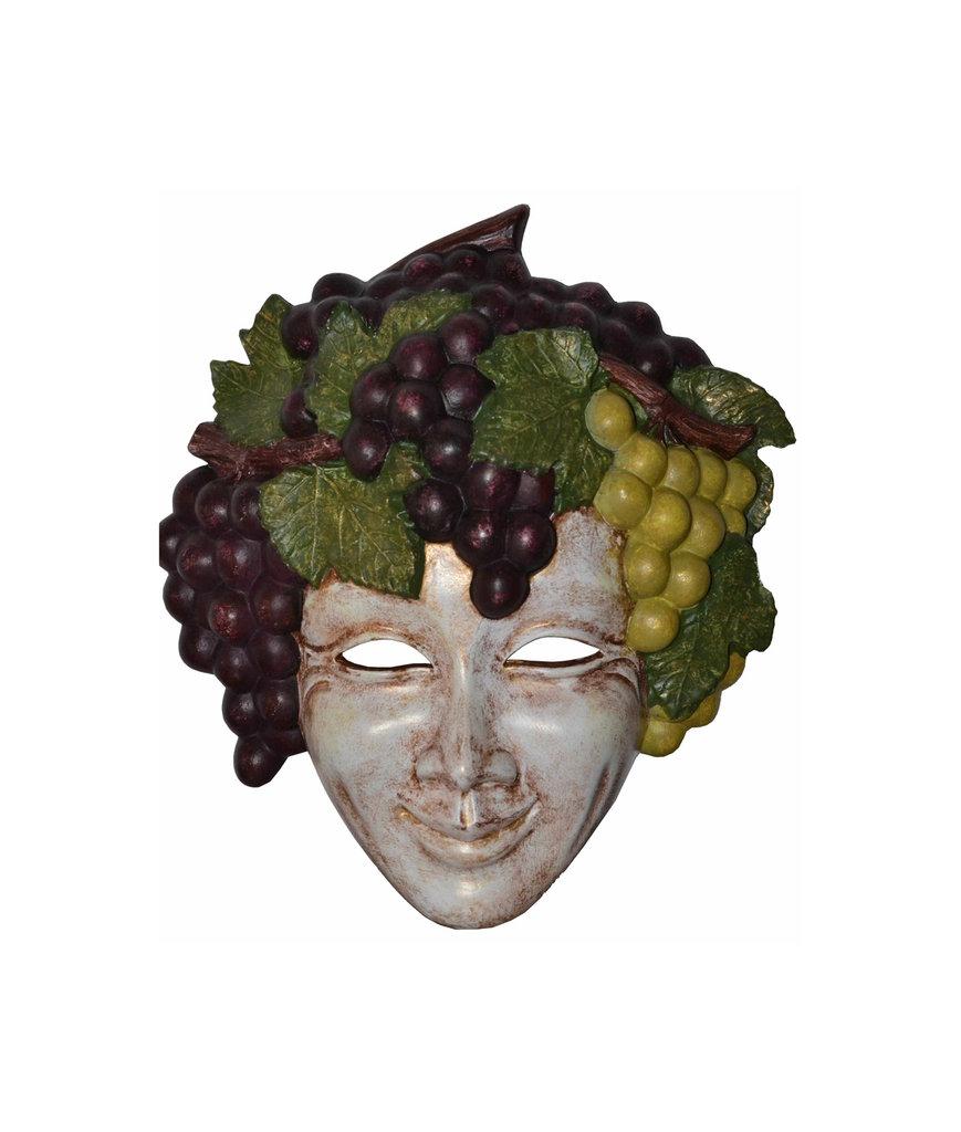 Maschera decorativa di carnevale viso BACCO in ceramica, dipinta a mano 24 cm - Mask Maske