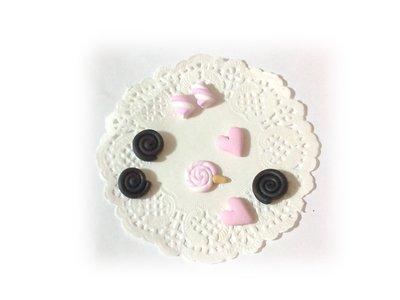 Decorazioni cabochon girelle liquirizia, marshmallows, cuori, lollipop fimo scrapbooking