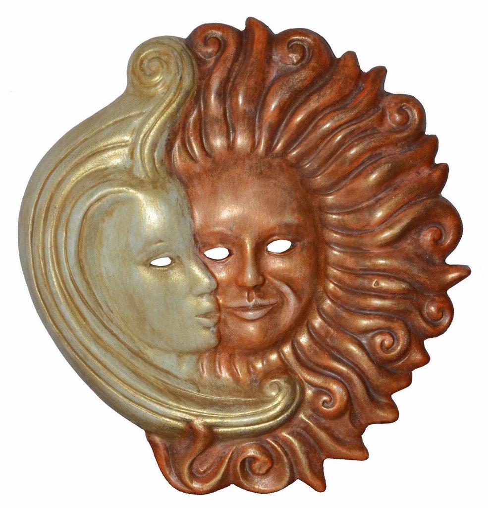MASCHERA decorativa SOLE LUNA in ceramica, decorata a mano 24 cm