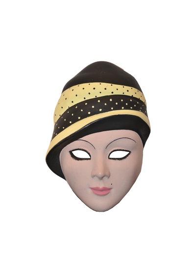 MASCHERA di carnevale decorativa visino anni '30 in CERAMICA, dipinta a mano 14 cm - Mask Maske