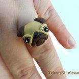 anello cane carlino creato a mano base regolabile