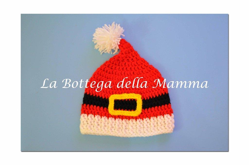 Cappello Babbo Natale fatto a mano taglia 3-6 mesi.