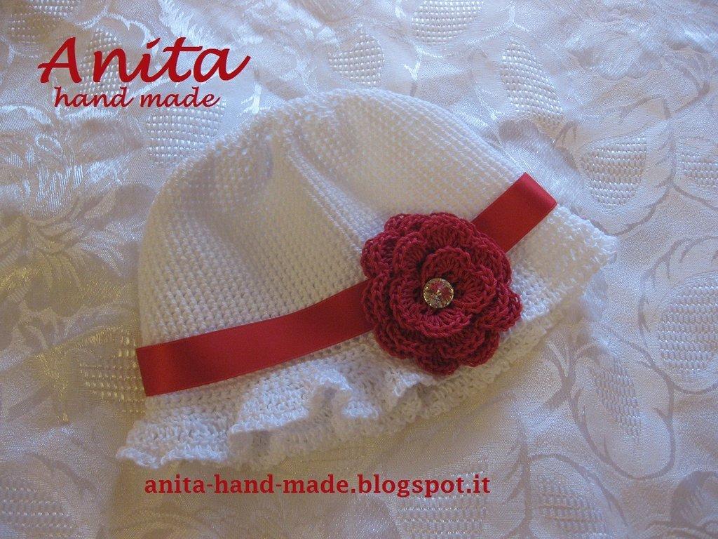 Cappellino bimba in 100% cotone con Swarovski