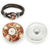 pulsante Bottone a clip con fiore vitigni  18mm Dia. per Bracciale adattabile