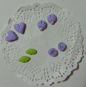 Decorazioni cabochon rose coccinelle cuori foglie fimo scrapbooking