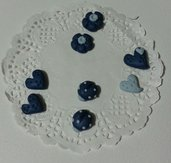 Decorazioni cabochon cuori coccinelle fiori blu fimo scrapbooking