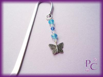 ✿ OFFERTA 3,50€!!! ✿ Segnalibro Farfalla e cristalli blu