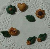 Decorazioni cabochon girasoli foglie cuori rose quadrifoglio fimo scrapbooking