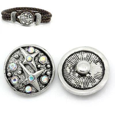 pulsante Bottone a clip stelle strass bianco  20 mm