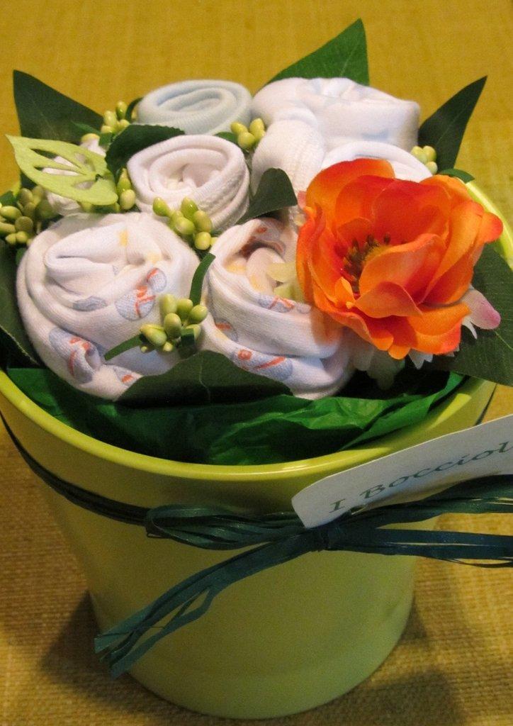 """*bouquet regalo nascita bimbo """"Bocciolino menta e arancia grande""""*"""