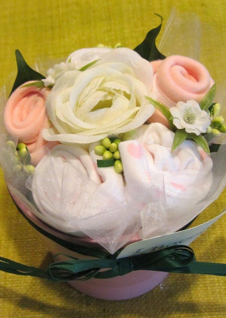 """*bouquet regalo nascita bimba """"Bocciolino rosellina piccolo""""*"""