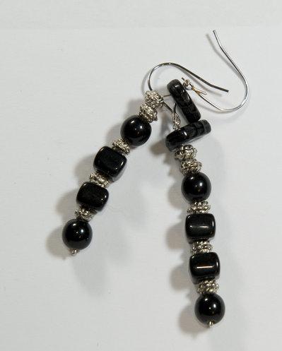 Orecchini nero-argento