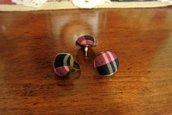 Set orecchini e anello bottoni in tartan - Megan