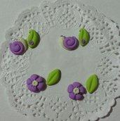 Decorazioni cabochon foglie fiori lumache fimo bijoux scrapbooking